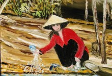 La lavandière du Mékong ( Vietnam )