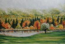 Brume d'automne dans les vergers de Frelighsburg ( Canada )